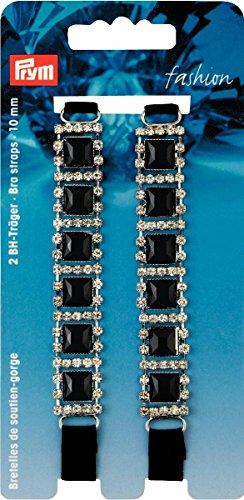 PRYM 991935 BH-Träger schwarz Strass / schwarze Steine, 2 Stück