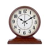 WEIJUN SHOP Europäische Vintage Retro Kaminsims/Antike alte Quarzuhr antiken Wohnzimmer Schreibtisch und Regal Uhr Dekoration (Farbe : Wood Grain)