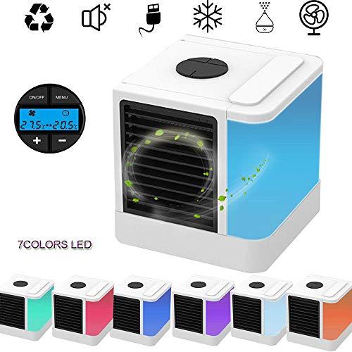 3in1 Mini Air Cooler, Mobile Klimageräte, Tischventilator, Klimaanlage Luftkühler, Ventilator, Luftbefeuchter und Luftreiniger, 3 Leistungsstufen und 7 Farben LED Nachtlicht, für Büro, Hotel, Garage -