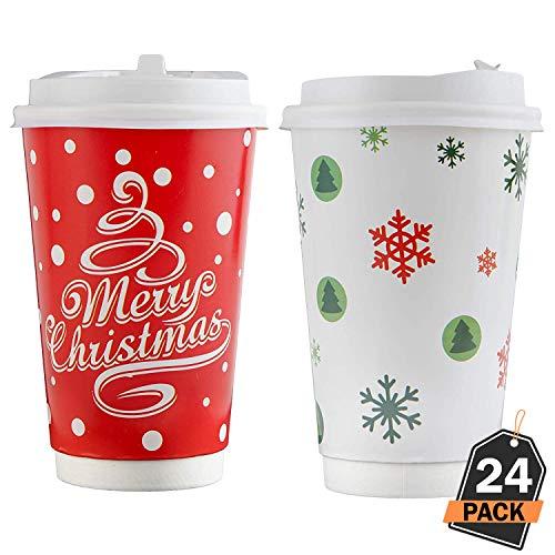 Kompanion 24 Stück 16 Oz Einweg Weihnachten Kaffeebecher Set mit Kunststoffdeckeln, Festliche Designs, Party Geschenke, Party Gefälligkeiten
