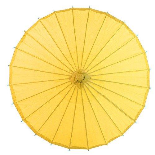 n Stil Bambus weiß Schirm Sonnenschirm Regenschirm mit Antik-Hut (gelb) ()