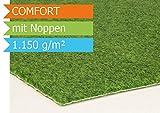 Lawn Artificial Grass COMFORT with Knobs-2,00m width, UV-resistant polyethylene - polypropylene, green, 2.00m x 3.00m