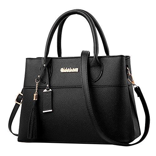 TianWlio Handtasche Damen Mode Quasten Umhängetasche Umhängetasche Messenger Bag Handtasche Schwarz