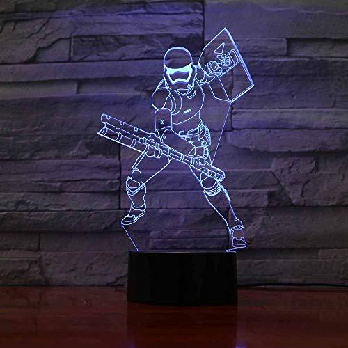 YDBDB Nachtlicht Krieger-Schreibtischlampe des virtuellen Schild-3D führte 7 Farben die Hauptdekor-Beleuchtungs-Kindergeburtstags-Geschenke ändern