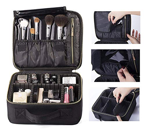 Rownyeon Professionelle Kosmetiktasche, Makeup Train Case Reise Make-up Tasche 10 '' Portable Makeup Artist Organizer Make-up Pinsel Tasche für Kulturbeutel Schmuck Digital Zubehör Klein - Organizer Tasche Make-up