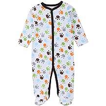 QHGstore Bebé recién nacido durmiente lindo pequeña huella de patas pijama de manga vestido de una sola pieza 0-3 meses