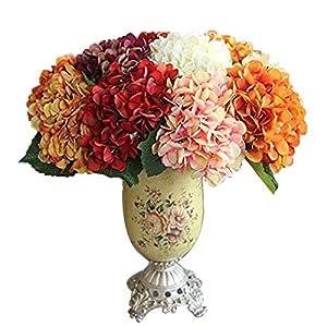 Calcifer – Ramo de Flores Artificiales de Hortensia de 17.72 Pulgadas para decoración del hogar/Boda, Amarillo, Package Quantity: 1Pcs