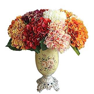 Calcifer 17.72«vintage Artificial ramo de flores de Hortensia para decoración del hogar/decoración de boda, Naranja, Package Quantity: 10Pcs