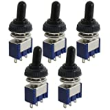 5 pcs AC 125 V 6 A ON/OFF/ON 3 Posición SPDT 3 pines alternar interruptor con impermeable botas