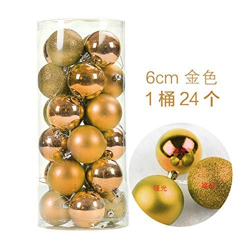 HAPPYLR Weihnachtskugeln Weihnachtsschmuck Weihnachtskugeln Helle Kugeln Plating Balls Weihnachtstag Anhänger 24 Fässer Paketkugeln, 6 cm Gold 24 Pack - 24k Fass