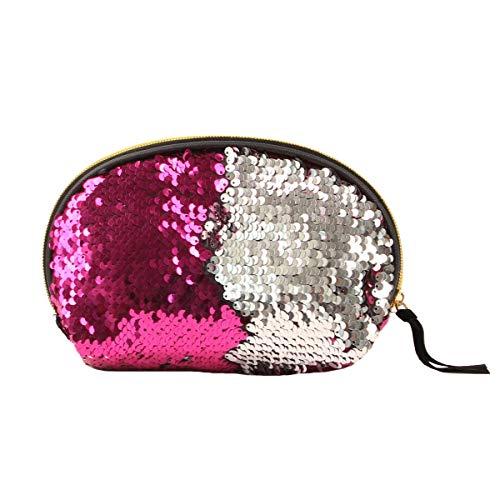 Jinxuny Frauen Pailletten Make-up Tasche Reversible Glitter Paillette Kosmetiktasche Abend Party Clutch Handtasche (Color : Rosy+Silver)