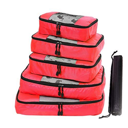 ZahuihuiM 5 Stück große Kapazität, multifunktional, wasserdicht, Reisetasche, Paket, Aufbewahrungstasche für Kosmetik, Rot - rot - Größe: Einheitsgröße -