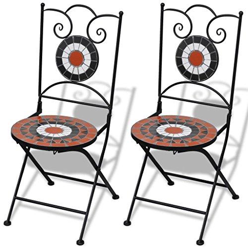 Mosaik Bistro Stuhl (lingjiushopping Mosaik Bistro Stuhl Terracotta/weiß 2Stück Farbe: Terracotta/weiß Material: Gestell Eisen pulverbeschichtet + Keramik Sitz)