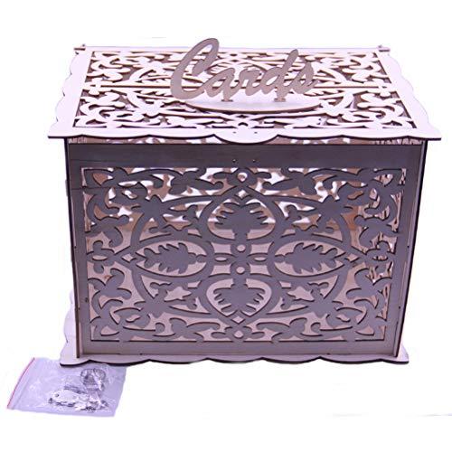 Vosarea Geschenkkarten Box Hochzeit Briefbox Holzbox Spardose Kartenbox mit Schlüssel für Baby Taufe Geburtstag Party Dekoration DIY