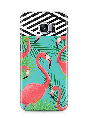 COVER Flamingo Palmen Streifen schwarz weiss Design Handy Hülle Case 3D-Druck Top-Qualität kratzfest Samsung Galaxy S7