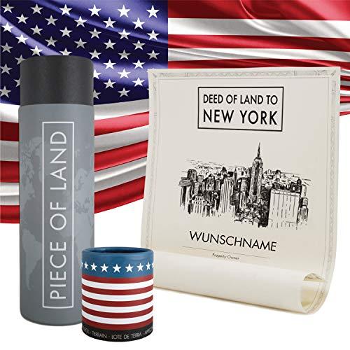 happylandgifts® Echtes New York Grundstück als einzigartiges Geschenk für New York und USA Fans - Landgeschenk mit personalisierter Besitzurkunde - New York Geschenke - ideal als Valentinstagsgeschenk