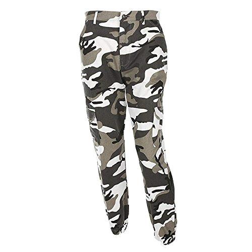 Pantalon Militar Mujer Largas Elegantes Otoño Outdoor Pantalon Deporte Casuales Pantalon Cargo Basicas Disfraz (Color : Grau, Size : M)