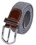 ITIEZY Unisex Flechtgürtel Elastischer Stoffgürtel Stretchgürtel Waistband mit Metallschnalle  Länge: 105cm (41.33) Farbe Hellgrau