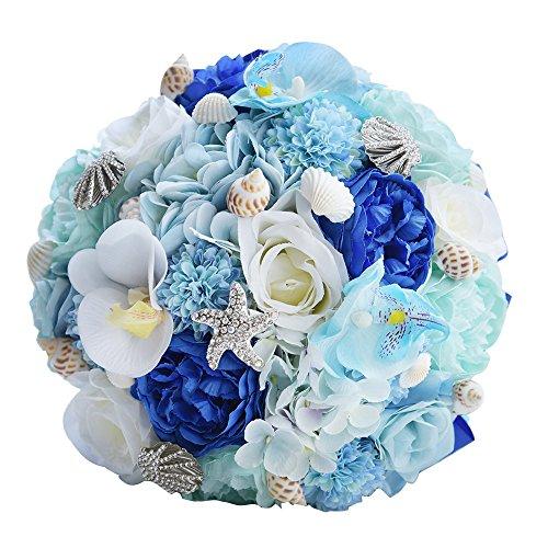 ERHU Instrument Hochzeit Bouquet Brautjungfer Perlen Shell Kristall Perlen Künstliche Rose - Strand Bouquet Hochzeit