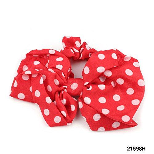 Gepunkteter Haargummi mit großer Schleife (Rot) 021-00029