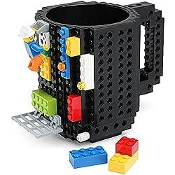 Sobre la base de la taza de ladrillo SHENNOSI 12 oz taza de café, negro