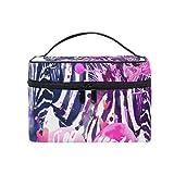 Coosun Aquarellpapier mit Zebra Kosmetik-Tasche Canvas Reise-Kulturbeutel mit Griff mit Make-up Tasche Organizer Multifunktions-Kosmetik-Tasche für Damen