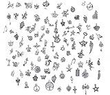 Bihrtc Charm-Anhänger, 100Stück pro Packung, Antiksilber, verschiedene Designs, Zubehör zur Schmuckherstellung, ein Accessoire zur Herstellung von handgemachten Armbändern, Halsketten
