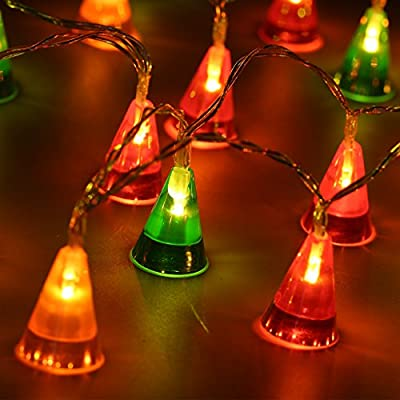 String Light Cone Battery Festive Lights, 20 LED lights, 1 Light Mode, Powered with 3AA Batteries for Indoor Celebration, Christmas Decoration Use (Orange, Red, Green)
