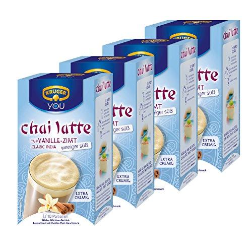Krüger Chai Latte Classic India moins sucré, vanille et de cannelle, boisson légère à base de thé au lait, Lot de 4, 4 x 10 sachets