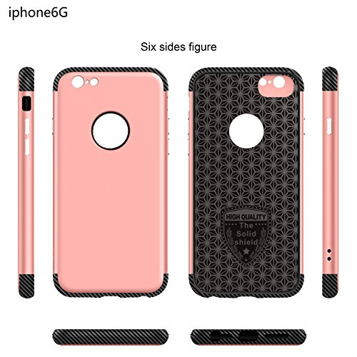 iPhone 6 Hülle, Oceanhome 2 in 1 Hart PC + TPU Case Cover Klassik Sport Schutz Schutzhülle [Stoßdämpfung] Carbon Faser Ladekantenschutz Anti Sturz Smart Phone Case für Apple iPhone 6 4.6 Hülle ( Rose  Silber