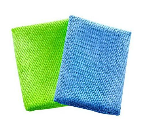 Koala Superstore 2-Pack Doppelseitige Fischwaagen Saubere Tücher für Küchen-Glasschale Zufällige Farbe