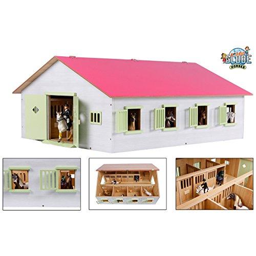 Van Manen Kids Globe Farming Reiterhof, Bauernhof mit 7 Pferdeboxen, Pferdehof aus Holz, mit Faltdach, 610189, rosa