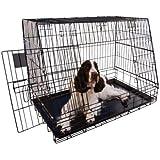 Jaula metálica Plegable 77cm Para transportar perros en Maletero coches con portón trasero