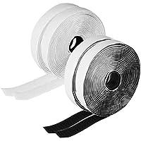 Cinta autoadhesiva de gancho y lazo, 5 m, 4 rollos de cinta adhesiva de doble cara, 20 mm de ancho x 5 m de largo, resistente, con pegamento super pegajoso (2 rollos en negro y 2 rollos en blanco)