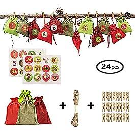 Borsa in Juta con Calendario dell'avvento di Natale per Il riempimento – Borsa in Juta i