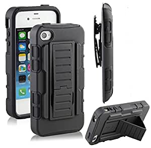 Apple iPhone 5 5S Hybrid Case, Rugged Impact Armor Hybrid Kickstand Cover with Belt Clip Holster Case For Apple I phone 5 & 5S- Black - Free Screen Guard