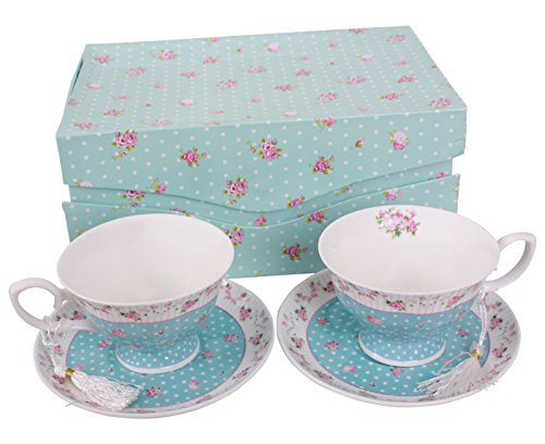 Coffee Tea cups and Saucers set of 2 Vintage Flower Flora Rose Lavender Gift Box (Blue set 2)