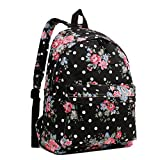 Butterfly Flower Polka Dot Retro Fashion Backpack Rucksack (Floral Black)