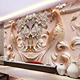 Abihua Wandbilder 3D Stereo Relief Pfau Muster Blumen Wandbild Fototapete Wohnzimmer Tv Sofa Studie Hintergrund Kunst Tapeten Für Wände 3D Home Decor 400Cm X 250Cm