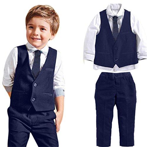 Weste Kleinkind Jungen (Jungen Gentleman Hochzeit Anzüge Shirts + Weste + Lange Hosen + Krawatte Kleidung By Dragon (Blau, 6T))