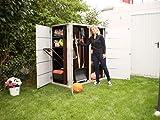 Garten[Q] Teras Gartenschrank, Gartengeräteschrank, Gartenbox, HPL-Trespa, wetterfest mit Zugriff von 2 Seiten links geschlossen, breites Streifendesign - 3