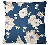 S4Sassy Blau-Kissen Bezug Startseite Dekorative Blumen Druck Kissen Bezug - Wählen Sie Größe