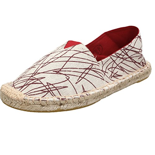 Vogstyle Unisex Espadrillas Basse Casuali Scarpe Slip On Flats Stile 4-Rosso