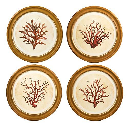 Camel-koralle (EUROCINSA Ref. 17219 Set mit 4 Bildern aus roten Korallen, MDF, Rot und Camel, 40 cm)