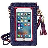 MoKo Touchscreen Handy Tasche Hülle - 2-in-1 PU Leder Wasserdichte Handtasche Schultertasche mit Straps für iPhone XS Max/XR/Xs, Galaxy S10e/S10/S10 Plus, Marineblau/Rot