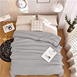 STU Bettwäsche-Set aus gewaschenem Baumwollsommersteppdecken Patchwork Decke billigen Sommer Bett Bettdecke 200 * 230cm grau Bettdecke-Bettwäsche weiche Bettdecken, graue Decke, 180 von 210cm