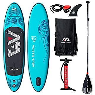Aqua Marina Vapor SUP Stand Up Paddle Board with Paddle, Leash, Magic Back Pack and Double Action Pump