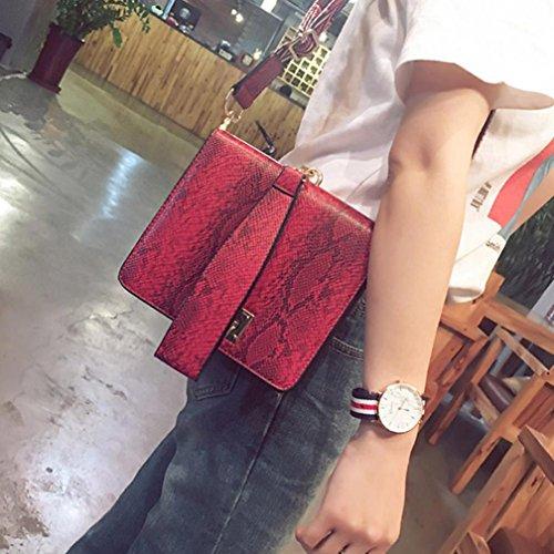 TPulling Stylish Solide Farbe Große Kapazität Schultertasche Boutique Dame Krokodilmuster Schulterbeutelhandtasche Rot