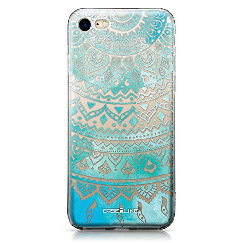 CASEiLIKE Coque iPhone 7 , Ultra Mince Crystal Case TPU Silicone Clair Transparente Exact Fit Soft Housse Etui Coque Pour iPhone 7 Dessin au trait indien 2066
