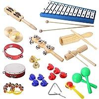 Set de instrumentos percusión CAHAYA, Juego de instrumentos de percusión con 17 piezas, Xilófono, Maracas, Castañuelas, Pandereta, Platillos, Cascabeles, Campanillas, Triángulo, etc.